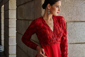 Dazzling embroidered scarlet silk georgette evening gown