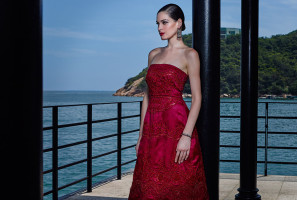 Crimson strapless embroidered silk organza dress with precious beads