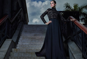 Midnight Black intricately embellished high neck silk chiffon gown